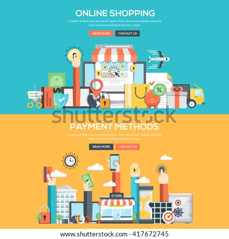 Set of Flat Color Banners Design Concepts for Online Shopping and Payment Methods.Vector - stock vector