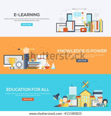 Set of flat color design web banners for E-Learning, Knowledge is Power and Education for all.Vector - stock vector