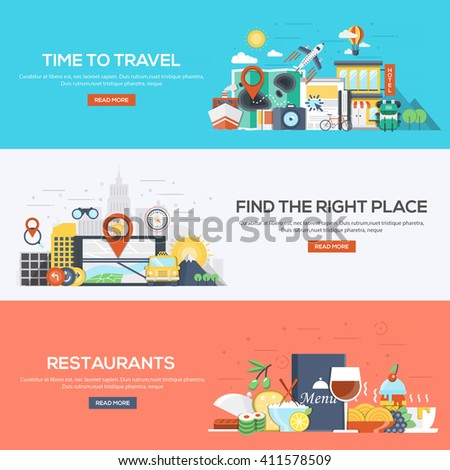 Set of flat color design web banners for Time to Travel, Find the Right Place and Restaurants.Vector - stock vector