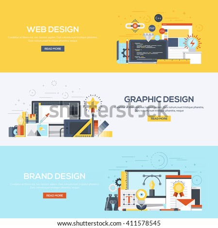 Set of flat color design web banners for Web Design, Graphic Design and Brand Design.Vector - stock vector