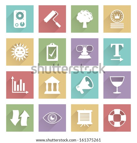 set of flat color icons with long shadows, eps 10 with transparencies, soft series set 5