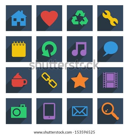 set of flat color icons with long shadows, isolated on white