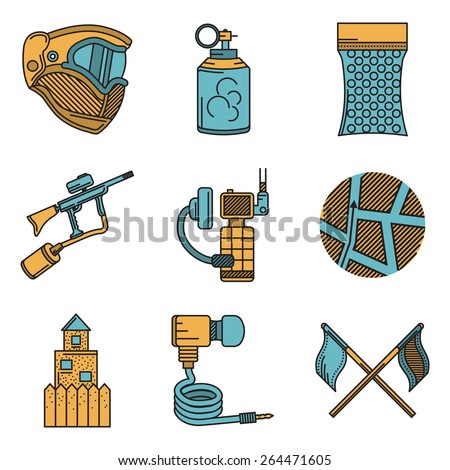 Set of flat color vector icons with black line contour for paintball and airsoft equipment and outfit on white background. Long shadow design. - stock vector