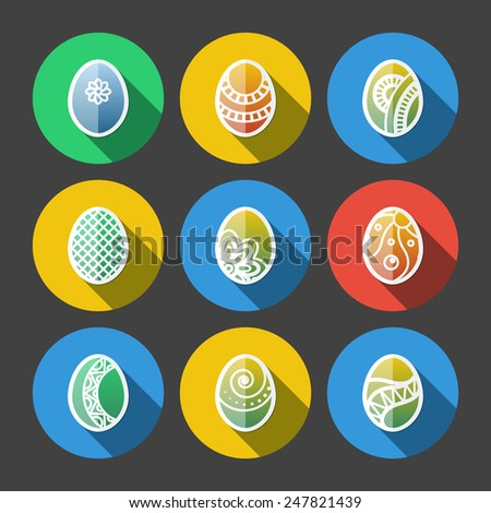 Set of flat colored Easter eggs icons with long shadow - stock vector