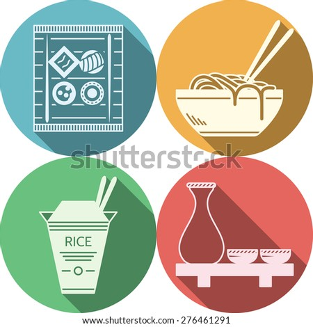 Set of flat colored round vector icons with white silhouette elements of japanese food on white background. Long shadow design - stock vector