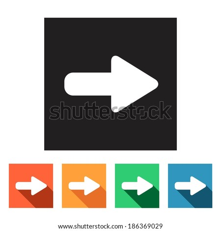 Set of flat colored simple web icons (arrows), vector illustration - stock vector