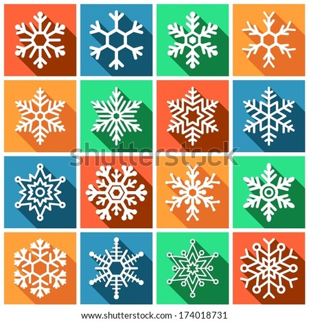 Set of flat colored simple web icons (winter snowflakes ), vector illustration - stock vector