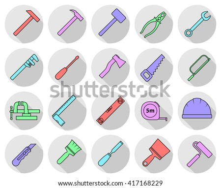Set of flat colorful repair tool icons. Home repair pictogram. Worker tools. Vector illustration.