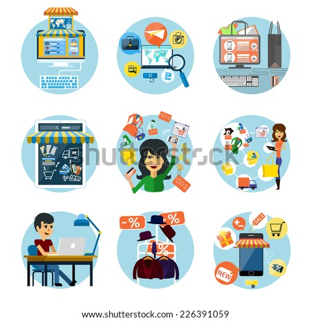 Set of flat concepts of e-commerce symbols, online shopping and banking. On white background - stock vector