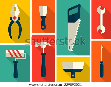 Set of flat construction tools - stock vector