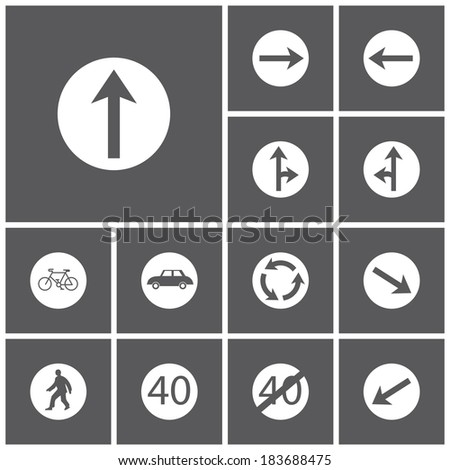 Set of flat dark simple icons (road signs), vector - stock vector