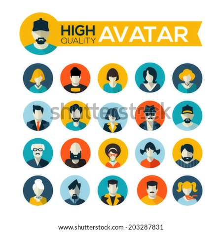 set of 20 flat design avatars icons, for use in mobile applications, website profile picture or in socil networks - stock vector
