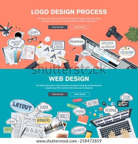 Set of flat design banners for logo and web design development - stock vector