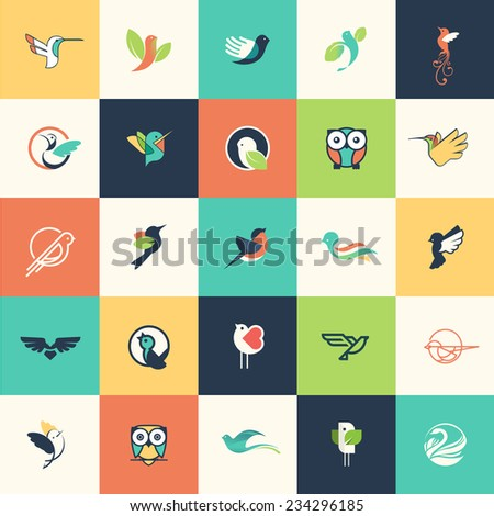 Set of flat design bird icons for websites, print and promotional materials, web and mobile services and apps icons, for cosmetics, healthcare, beauty, fashion, travel, spa, wellness, natural product. - stock vector