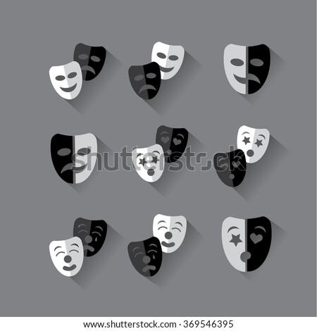 Set of flat design black and white theatrical masks. EPS 10 vector illustration - stock vector