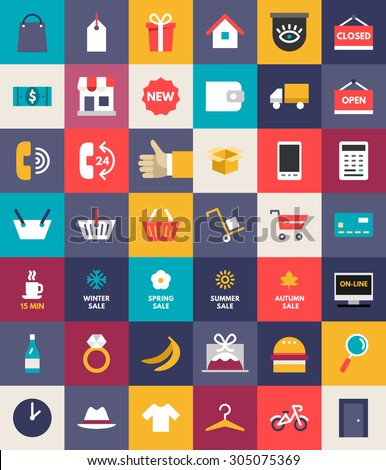 Set of Flat Design Business and Shopping Icons. Vector Illustration - stock vector
