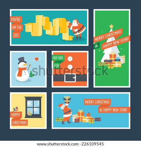 Set of flat design Christmas and New Year greeting cards - stock vector
