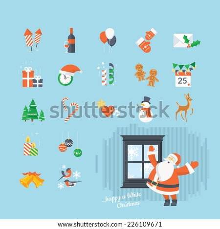 Set of flat design Christmas and New Year icons. The set can be used for websites, print templates, presentation templates, promotional materials, infographics, web and mobile phone services and app. - stock vector