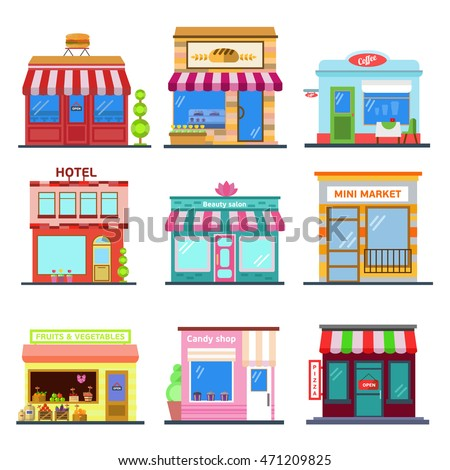 Set Of Flat Design City Public Buildings Restaurants And Shops Facade Icons Pizza