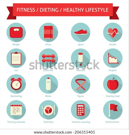 Set of flat design colored round vector set of icons for dieting, weight loss, fitness, healthy lifestyle - stock vector