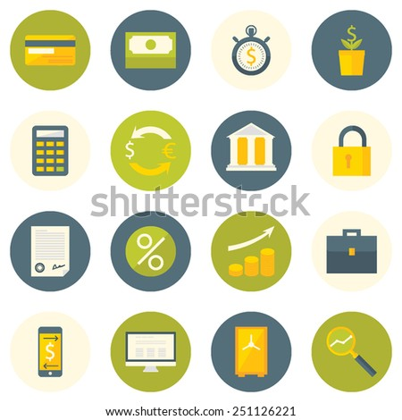 Set of flat design colorful round vector icons for bank services, financial management, analytics, accounting, mobile and internet banking, investment, financial safety isolated on white - stock vector