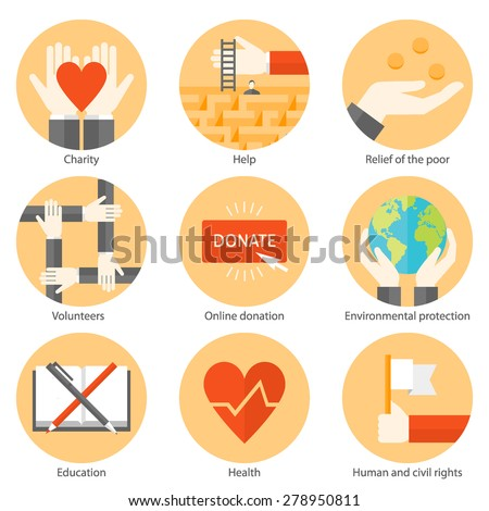Set of flat design colorful round vector icons for charity, donation, helping people, supporting non profit projects for education, environmental protection, health, human rights isolated on white - stock vector