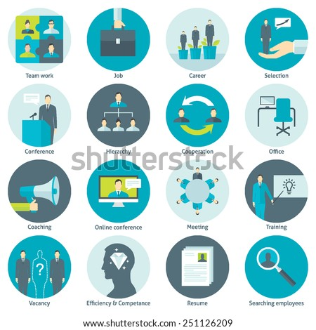 Set of flat design colorful round vector icons for human resource management, recruitment, work of company, cooperation, conference, professional training, coaching, team building isolated on white - stock vector
