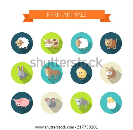 Set of flat design compositions with farm animals - stock vector