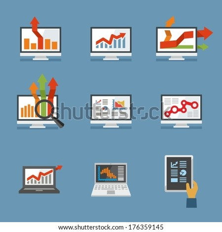 Set of flat design computers with charts and graphs. - stock vector