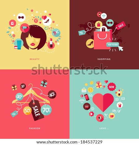 Set of flat design concept icons for beauty and shopping. Icons for beauty, shopping, fashion and love concept. - stock vector