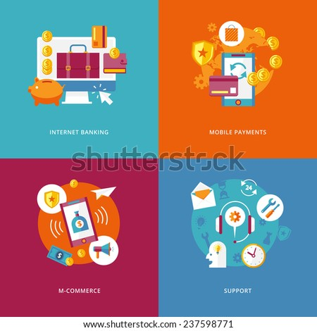 Set of flat design concept icons for business and marketing. Icons for internet banking, mobile payments, m-commerce, support. - stock vector