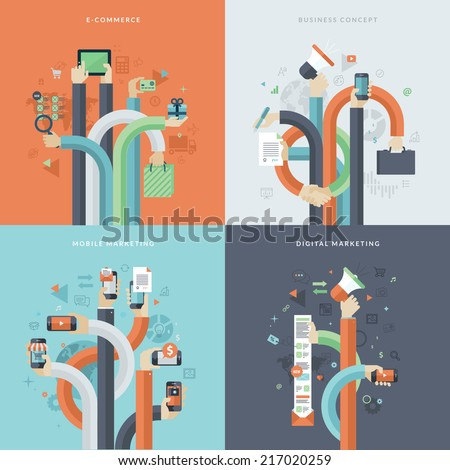 Set of flat design concept icons for business and marketing. Icons for online commerce, mobile marketing, business and digital marketing. Concepts for web and mobile phone services and apps.      - stock vector
