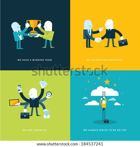 Set of flat design concept icons for business. Icons for winning team, partners, versatility and company objectives. - stock vector
