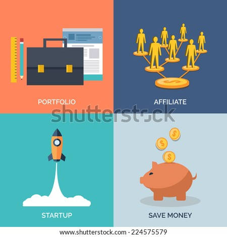 Set of flat design concept icons for business. Portfolio, Affiliate, Startup and Save Money. Vector Illustration. - stock vector
