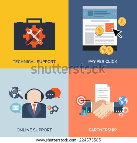 Set of flat design concept icons for business. Technical support, Pay per click, Online support and Partnership. Vector Illustration. - stock vector