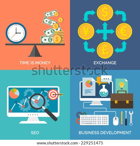 Set of flat design concept icons for business. Time is money, Exchange, SEO and Business development. Vector Illustration. - stock vector