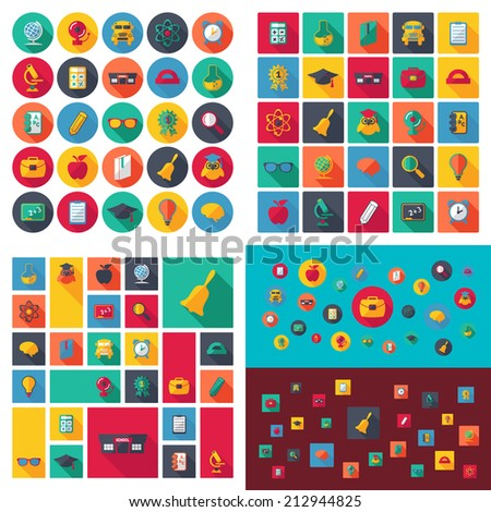 Set of flat design concept icons for education - stock vector