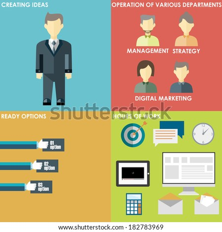 Set of flat design concept icons for infographic and presentation. Icons for mobile marketing, email marketing, video marketing and digital marketing. - stock vector
