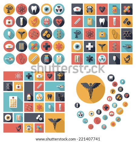 Set of flat design concept icons for medicine - stock vector