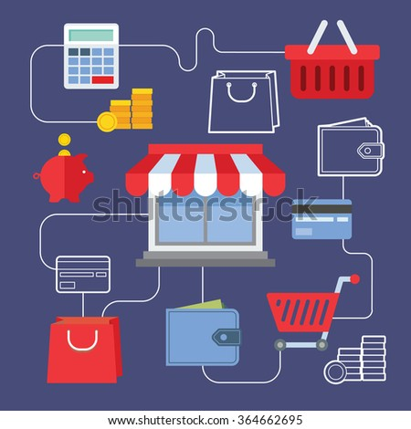 Set of flat design concept icons for online shopping. Icons for online shop, add to bag, payment methods and delivery. - stock vector