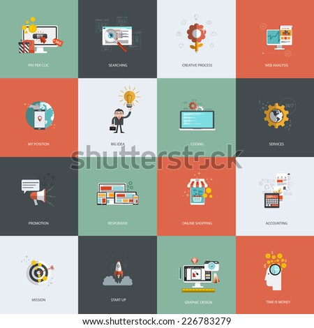 Set of flat design concept icons for pay per clic, creative process, searching, web analysis, my position, promotion , time is money, services, mission, online shopping and accounting. Vector