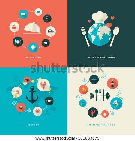 Set of flat design concept icons for restaurant. Icons for restaurant, international food, seafood, Mediterranean food.     - stock vector