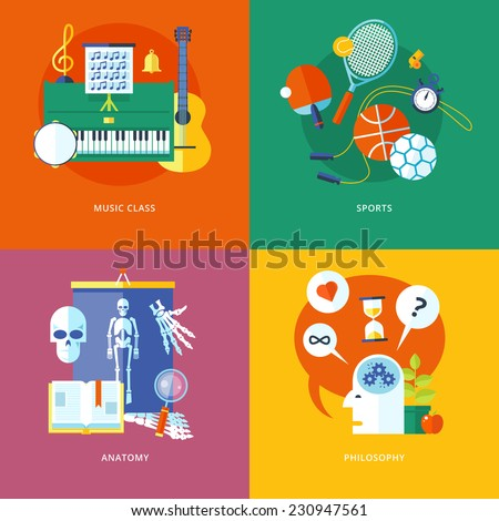 Set of flat design concept icons for school and education. Icons for music, sports, anatomy and philosophy. - stock vector
