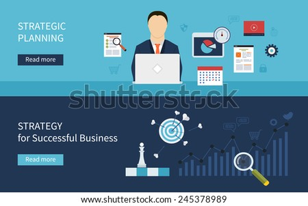 Set of flat design concept icons for strategic planning and strategy for successful business. Concepts for web banners and printed materials. - stock vector