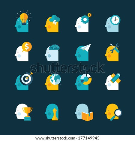 Set of flat design concept icons for web and mobile phone services and apps - stock vector