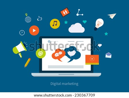 Set of flat design concept icons for web and mobile phone services and apps. Icons for digital marketing and mobile marketing. - stock vector