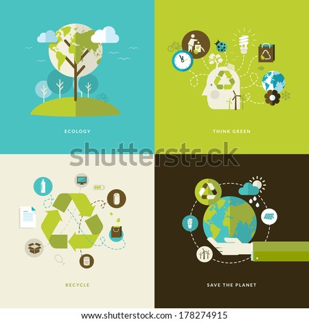 Set of flat design concept icons for web and mobile phone services and apps. Icons for ecology, think green, recycle and save the planet. - stock vector