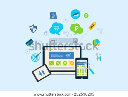 Set of flat design concept icons for web and mobile phone services and apps. Icons for mobile marketing and online shopping - stock vector