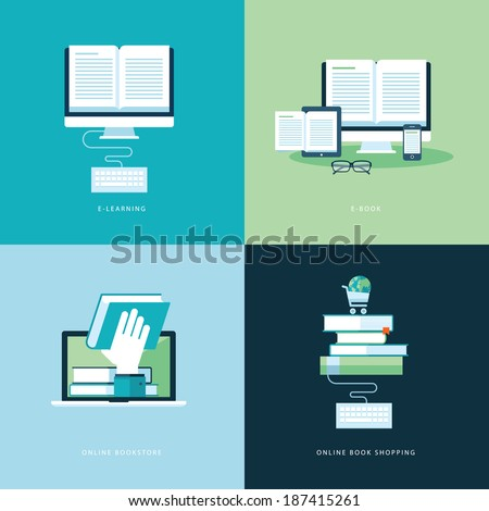 Set of flat design concept icons for web and mobile phone services and apps. Icons for online learning, online book, online bookstore, online book shopping.     - stock vector