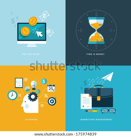 Set of flat design concept icons for web and mobile phone services and apps. Icons for pay per click, planning, marketing management, time is money. - stock vector